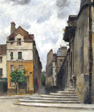 ATTRIBUTED TO EMMANUEL LANSYER    Rue de la Montagne-Ste.-Geneviève, Paris   Oil on canvas 13¾ x 11½ inches (35.4 x 29.3 cm) $6,000 Click here for more information