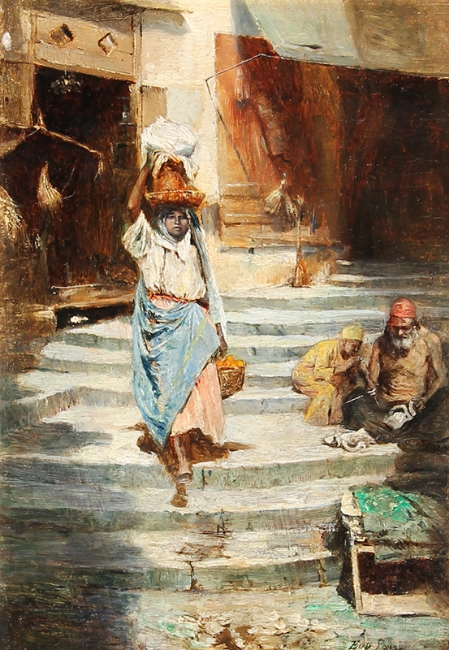 EUGÈNE PAVY    Returning from the Market   Oil on panel 9 x 6¼ inches (23 x 16 cm) $3,600 Click here for more information