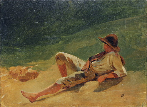 ÉMILE LOUBON Study of a Boy in Sunlight Oil on paper laid down on canvas 9 x 11¾ inches (23 x 30 cm) SOLD