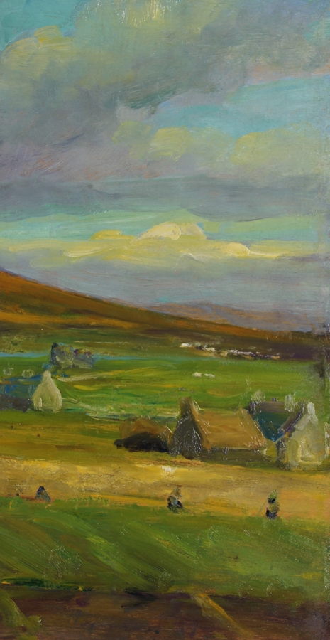 MICHAEL AUGUSTIN POWER O'MALLEY    Achill Field, County Mayo, Ireland   Oil on panel 20 x 10 inches (51 x 25.4 cm) Framed: 29 x 19 inches (73.6 x 48 cm) $4,500 Click here for more information
