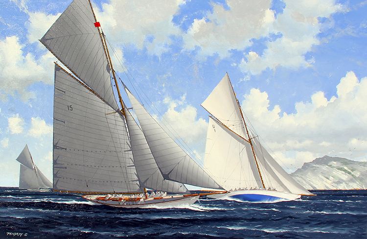 JOHN PENDRAY Classic Yachts Racing - Marseille Oil on canvas 26 x 39 inches (66 x 99 cm) SOLD