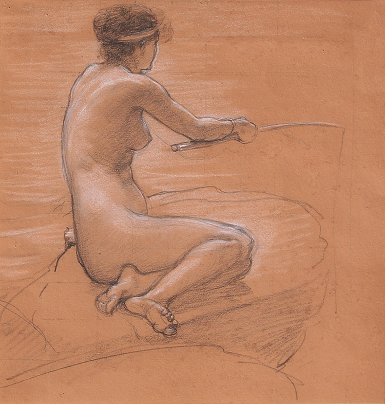 "SIR EDWARD JOHN POYNTER    Study for ""A Nymph of the Stream""   Black and white chalk on paper Sight 10 x 9½ inches (25.5 x 24.1 cm) Sheet 14 x 10 inches (35.5 x 25.5 cm) $14,000 Click here for more information"