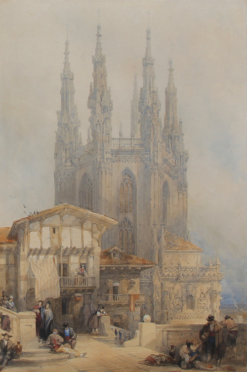 DAVID ROBERTS    Burgos Cathedral, Spain   Watercolor over pencil on paper 15¾ x 10½ inches (40.4 x 26.9 cm)  SOLD