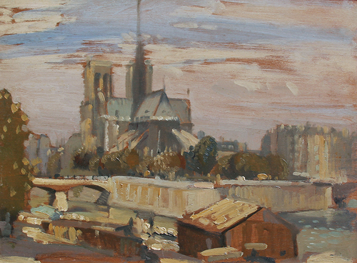 Notre Dame from the Left Bank   Oil on panel 9¾ x 13 inches (24.7 x 33 cm) $8,500 Click here for more information
