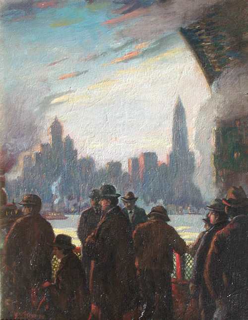 HERBERT B. TSCHUDY    Fulton Street Ferry, Evening - N.Y.   Oil on canvas 20 x 16 inches (50.8 x 40.6 cm) $25,000 Click here for more information