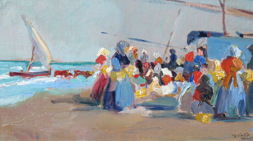 ERNESTO VALLS SANMARTIN    At the Beach   Oil on canvas laid down on board 10 x 17 inches (25.5 x 43 cm) $7,800 Click here for more information