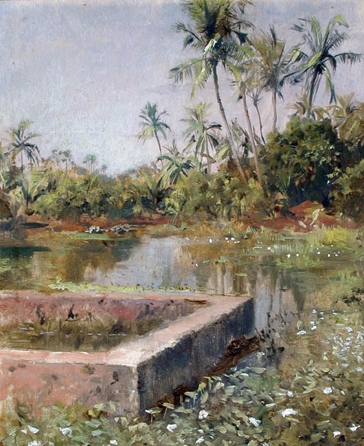 Sacred Lake, Bombay   Oil on board 10½ x 8¾ inches (26.6 x 22.3 cm) $12,000 Click here for more information