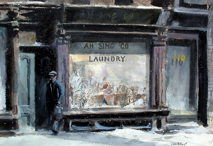 JOHN WHORF    Ah Sing Company Laundry   Watercolor on paper 14½ x 20¾ inches (37 x 53 cm) $23,000 Click here for more information