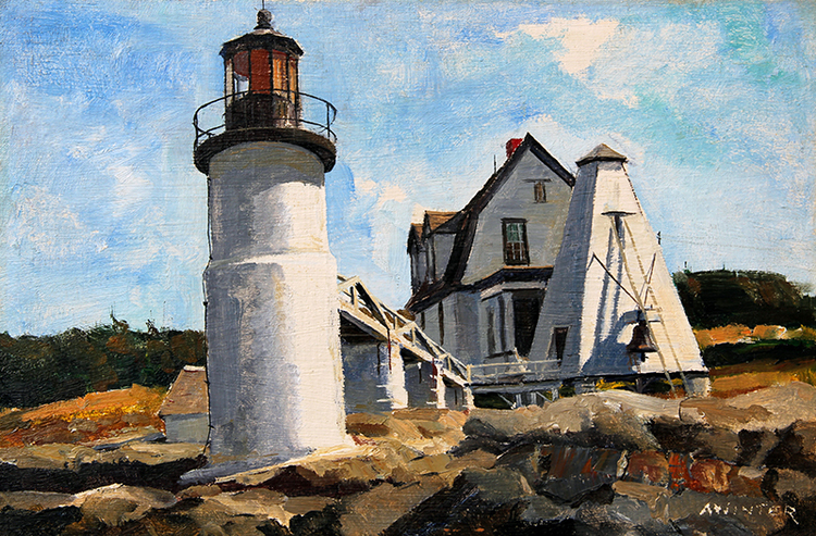 ANDREW WINTER    Marshall Point Lighthouse, Port Clyde, Maine   Oil on artist's board 12 x 18 inches (30.5 x 45.7 cm)  SOLD