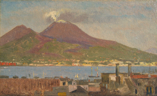 GEORGE HENRY YEWELL    Bay of Naples with Vesuvius   Oil on paper laid down on board 5¼ x 8½ inches (12.7 x 20.3 cm) $4,500 Click here for more information