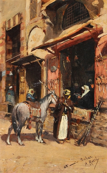 An Arab Market Oil on panel 9¼ x 5¾ inches (23.5 x 14.6 cm) $3,600 Click here for more information