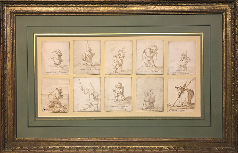 CIRCLE OF GIOVANNI DOMENICO TIEPOLO  A Group of Ten Caricatures   Brown wash on paper Each approx. 4½ x 3½ inches (11.4 x 8.9 cm) $18,000 Click here for more information