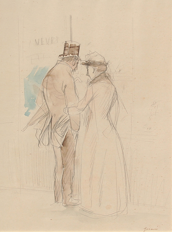 JEAN-LOUIS FORAIN  An Intimate Moment   Pencil and watercolor on paper 12 x 9 inches (30.5 x 23 cm) $5,500 Click here for more information