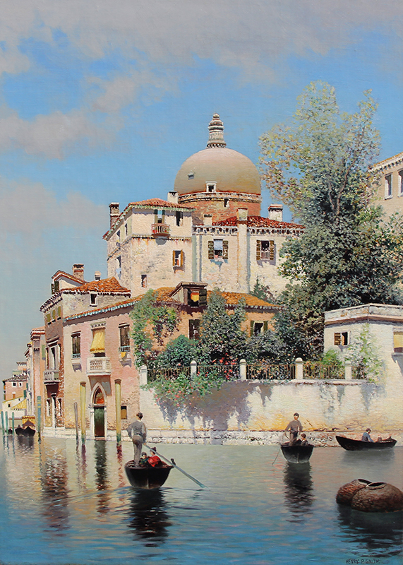 HENRY PEMBER SMITH Venetian Gondoliers Oil on canvas 28 x 20 inches (71.1 x 51 cm) SOLD