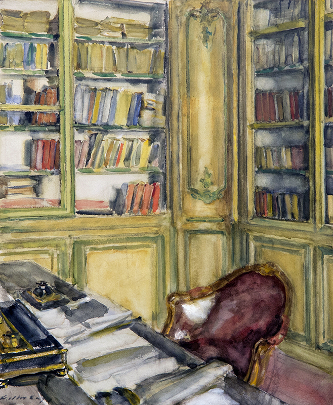 WALTER GAY    Library at Château du Bréau   Watercolor on board 18 x 15 inches (45.7 x 38.1 cm)  SOLD