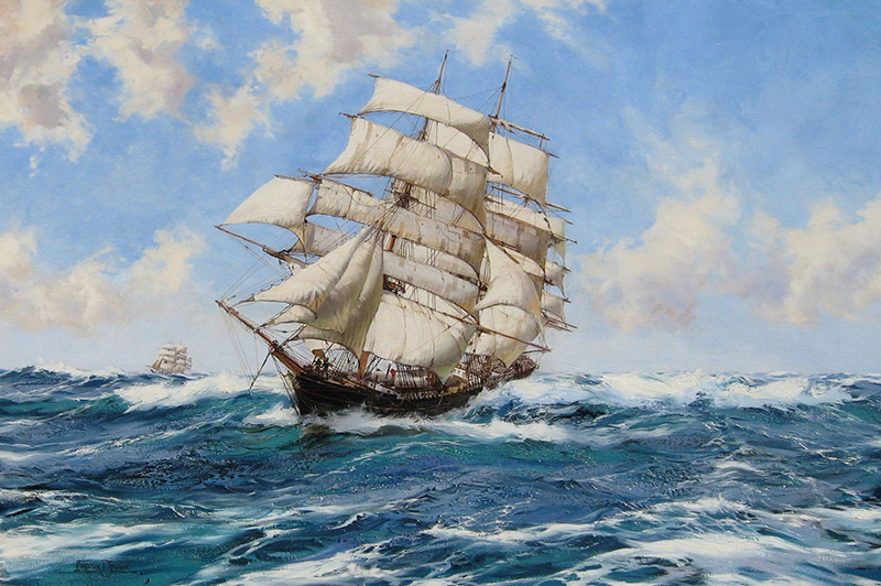 MONTAGUE DAWSON    The New York Clipper Ship 'Prima Donna'   Oil on canvas 28 x 42 inches (71 x 106.7 cm)  SOLD