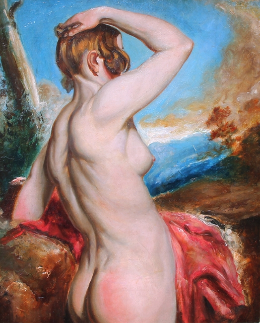 WILLIAM ETTY    Female Nude with Red Drapery   Oil on board laid down on panel 21½ x 17½ inches (54.6 x 44.5 cm) $17,000 Click here for more information