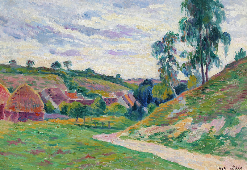 MAXIMILIEN LUCE  Meules, Environs de Moulineux   Oil on board 12½ x 18 inches (32 x 46 cm)  SOLD
