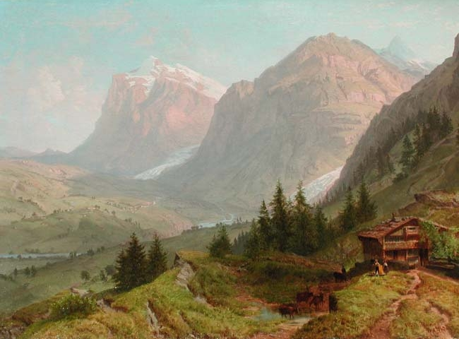 WILLIAM TROST RICHARDS  Alpine Landscape   Oil on canvas 26½ x 36½ inches (67.3 x 92.6 cm.)  SOLD