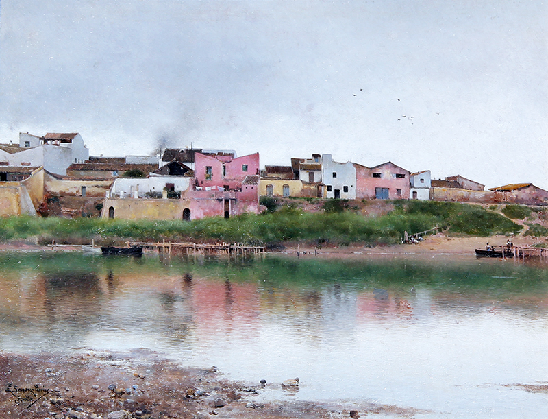 EMILIO SANCHEZ-PERRIER  A Village along a River in Seville   Oil on panel 11 x 14¼ inches (28 x 36 cm)  SOLD