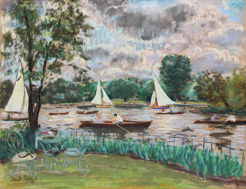 PAUL LUCIEN MAZE    Boating on the Thames (Summer)   Pastel on paper 22 x 28½ inches (56 x 72.4 cm)  SOLD