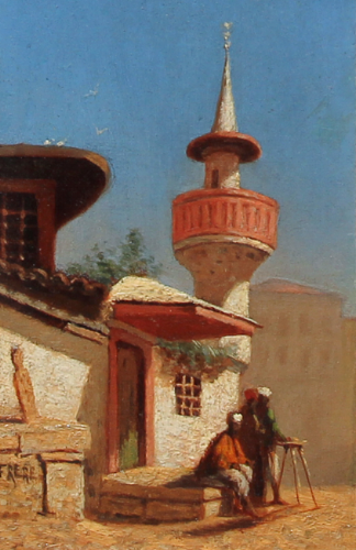 CHARLES THÉODORE FRERE    Une Mosque à Constantinople   Oil on panel 7 x 4¼ inches (17.8 x 10.8 cm) $3,600 Click here for more information