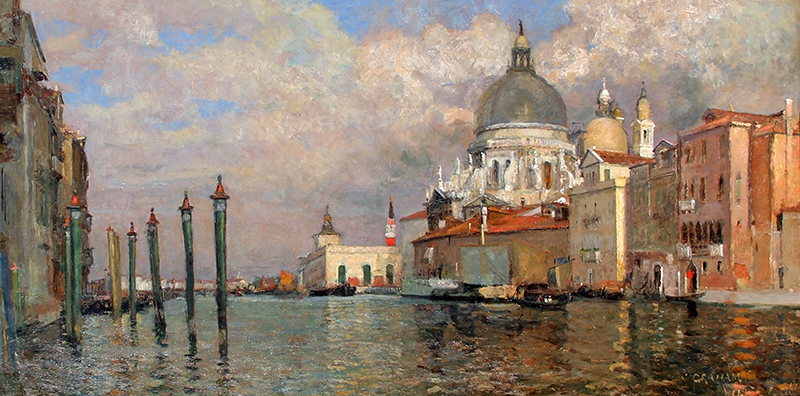 WILLIAM GRAHAM  Dogana and Salute from the Prefetura, Venice   Oil on canvas 13½ x 26 inches (34.4 x 66 cm) $8,500 Click here for more information