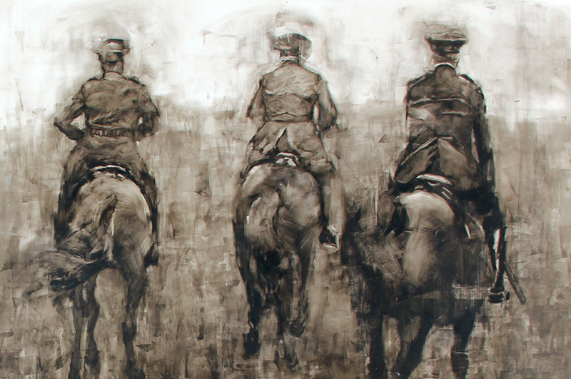 Three Riders Oil on vellum 24 x 36 inches (61 x 91.4 cm) $4,800 Click here for more information