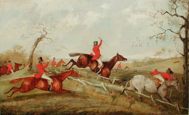 Henry Thomas Alken  A Set of Three Hunting Scenes (1 of 3) Oil on Canvas Each 17 x 27 inches (43.2 x 68.5 cm.)  SOLD