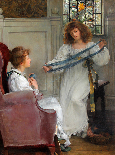 LADY LAURA ALMA-TADEMA The Wool Winders Oil on canvas 24 x 18 inches (61 x 45.7 cm) SOLD