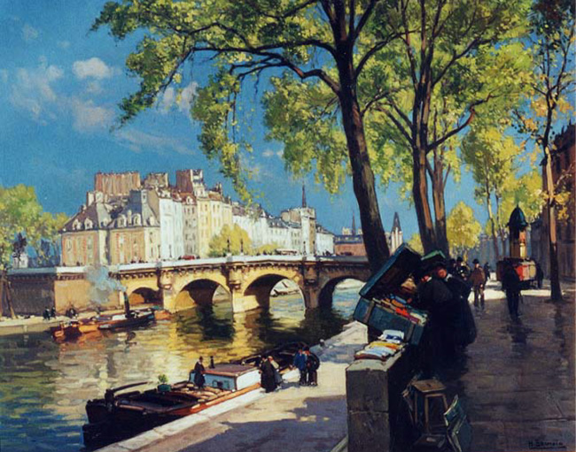 HENRI ALPHONSE BARNOIN    Along the Seine   Oil on canvas 24 x 29 inches (61 x 73.5 cm.)  SOLD