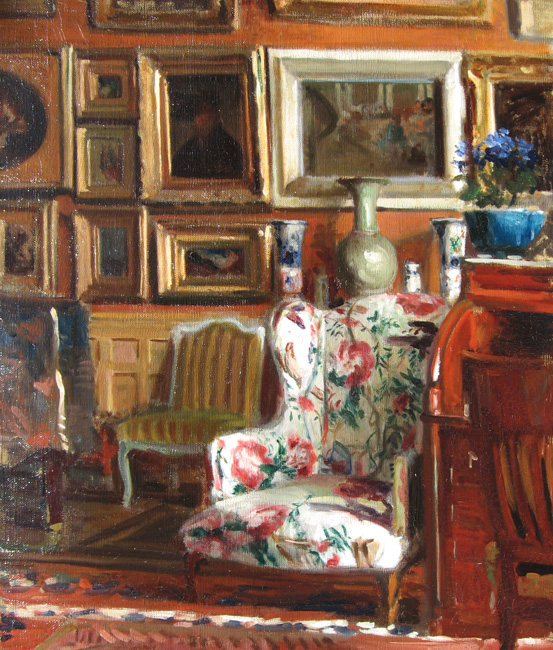 JACQUES EMILE BLANCHE    The Artist's Atelier, Rue des Fontis in Auteuil, Paris   Oil on canvas 25¾ x 21½ inches (65 X 54.5cm)  SOLD