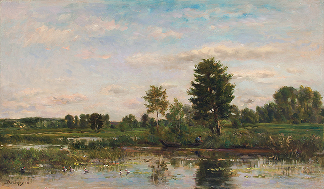 CHARLES FRANÇOIS DAUBIGNY    La Barque au bord de la Rivière   Oil on cradled panel 13½  x 23 inches (34.3 x 58.4 cm)  SOLD
