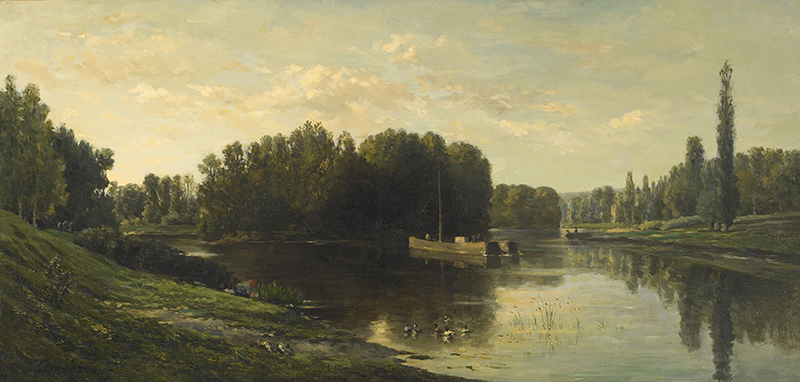 CHARLES FRANÇOIS DAUBIGNY Les Bords de l'Oise, Ile de Vaux Oil on canvas 21 x 43¾ inches (53.3 x 111 cm) SOLD