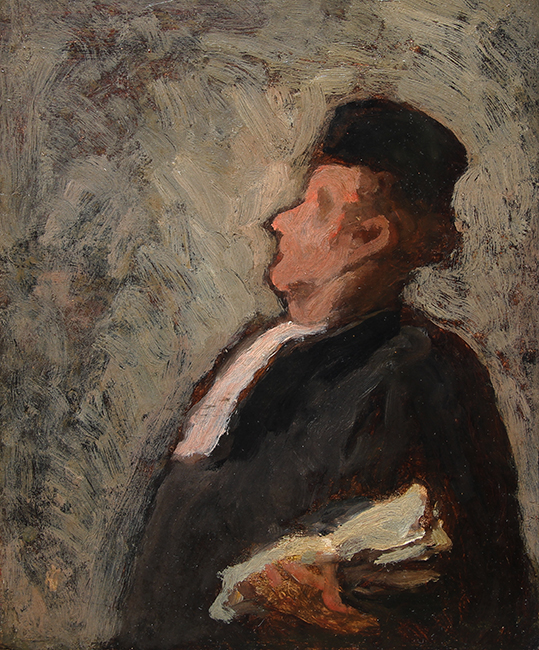 HONORÉ DAUMIER Un Juge Oil on panel 10½ x 8¾ inches (26.6 X 22.3 cm) SOLD