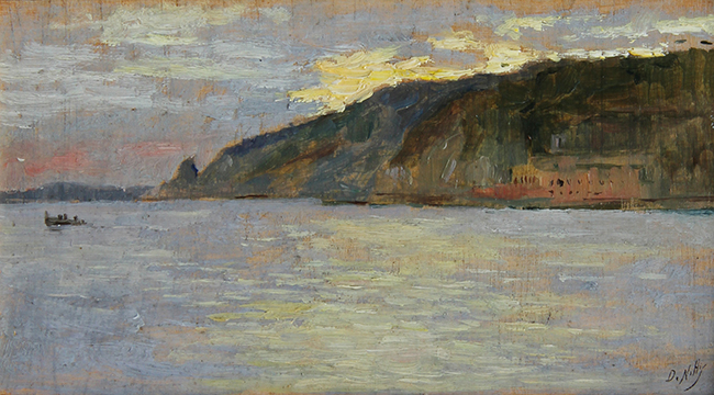 GIUSEPPE DE NITTIS    Along the Coast of Naples   Oil on panel 4 x 6½ inches (10 x 16.5 cm)  SOLD