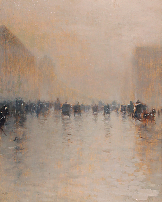 GIUSEPPE DE NITTIS    A Foggy Day in London   Oil on panel 13¼ x 10½ inches (33.6 x 26.7 cm)  SOLD