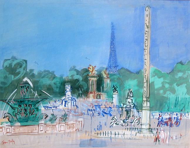 JEAN DUFY    Place de la Concorde, Paris   Watercolor on gouache on paper 18½ x 23½inches (47 x 59.5 cm)  SOLD