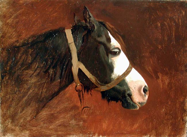 JEAN-LÉON GÉRÔME    Tête de Cheval en Profil   Oil on canvas 9 x 12¼ inches (22.8 x 31 cm)  SOLD