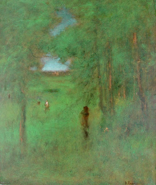 GEORGE INNESS    In a Shady Nook    Oil on canvas 30 x 25 inches (101.5 x 89 cm)  SOLD