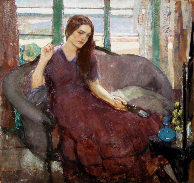 RICHARD E. MILLER    The Red Gown (Provincetown)   Oil on board 36 x 38 inches (91.4 x 96.5 cm)  SOLD
