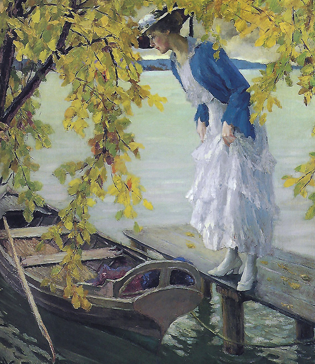 EDWARD CUCUEL A Quiet Autumn Day Oil on canvas 39 x 35 inches (99 x 88.9 cm.) SOLD