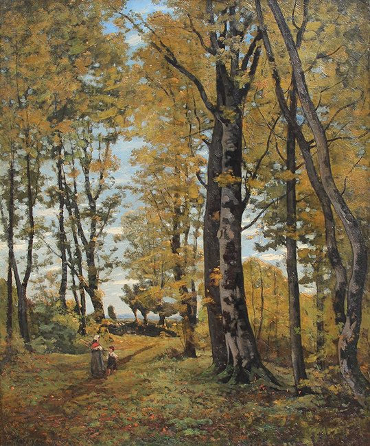 HENRI JOSEPH HARPIGNIES La Clairière Oil on canvas 24 x 19 3/4 inches (61 x 50.2 cm.) SOLD