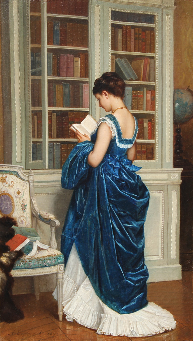 AUGUSTE TOULMOUCHE  Dans la Bibliothèque   Oil on canvas 15 x 8¾ inches (38.1 x 22.3 cm.)  SOLD