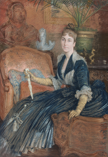 JAMES JACQUES JOSEPH TISSOT  Portrait of Marie-Héloise Jeanne Ferré May   Pastel on linen 58 x 40 inches (147.3 x 101.6cm)  SOLD
