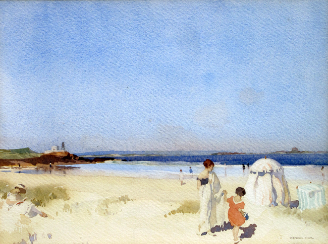 SIR WILLIAM RUSSELL FLINT  A Blue Day, Bamburgh   Watercolor on paper 10 x 13 inches (25.5 x 33 cm.)  SOLD