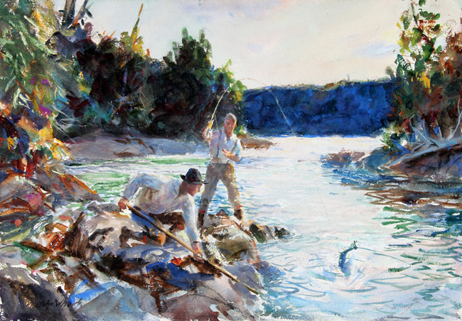 JOHN WHORF Salmon Water Watercolor on paper 15 1/2 x 22 1/2 inches (39.4 x 57.2 cm) SOLD