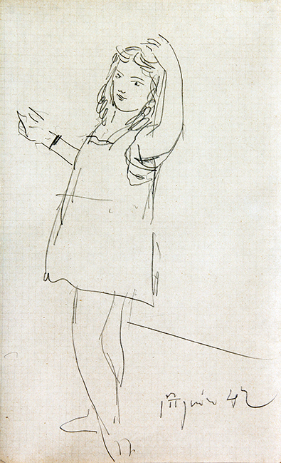 PABLO PICASSO  La Fille de l'Artiste   Pencil on graph paper 13¾ x 8½ inches (35 x 21.5 cm)