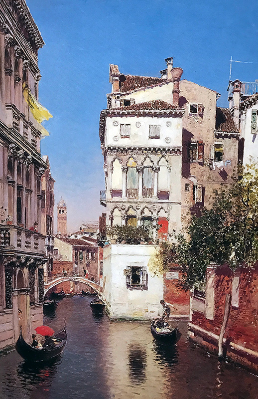MARTÍN RICO Y ORTEGA A Venetian Canal Oil on canvas 27 x 17½  inches (68.6 x 44.5 cm) SOLD