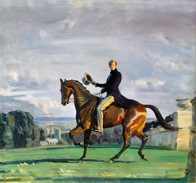 SIR ALFRED MUNNINGS Portrait of a Gentleman on a Bay Horse in a Park with a Church beyond Oil on canvas 28 × 30 inches (71.1 × 76.2 cm)  SOLD